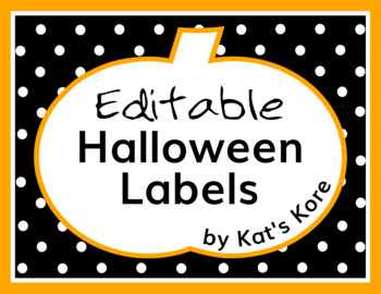 halloween labels 85 editable labels by kat s kore tpt