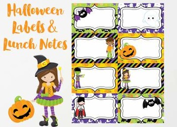 Halloween Labels and Lunch Notes