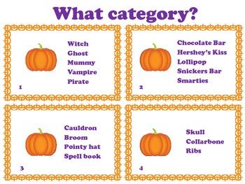 Halloween Language Activities: Inference, Describing, Categories