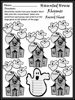 Halloween Language Arts Activities: Haunted House Rhyming Words Activity Packet