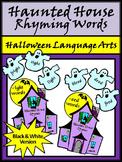 Halloween Language Arts Activities: Haunted House Rhyming Words Activity - B/W