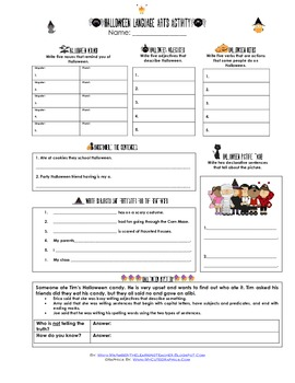Halloween Language Arts Activity