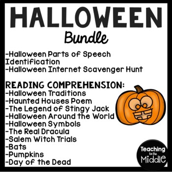 Halloween Language Arts Bundle- Reading Comprehension, Grammar, Poem, October