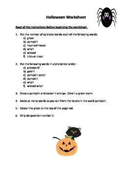 Halloween Language Arts Centers