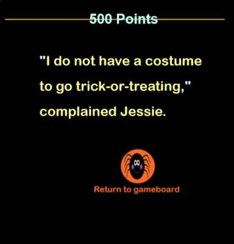 Halloween Language Arts Jeopardy