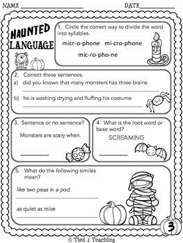 Halloween Language Printables - Fourth Grade