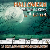 Halloween Math and Language Printables for Fourth Grade