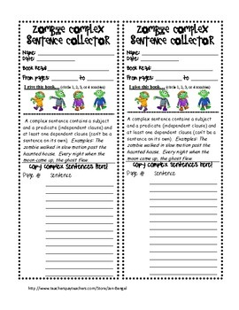 Halloween Language Printables for Teaching Simple, Complex, & Compound Sentences