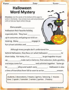 Halloween Language Activities - Print and Digital Versions