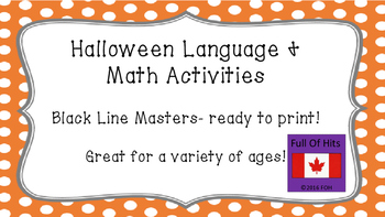 Halloween Language and Math Activities