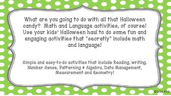 Halloween Language and Math Activities