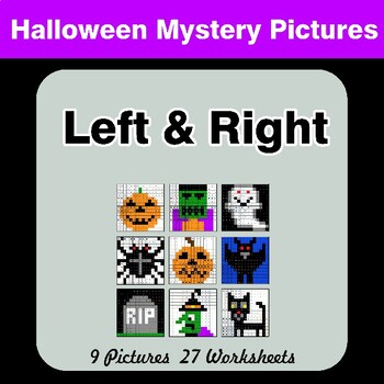 Halloween: Left & Right side - Color by Emoji - Mystery Pictures