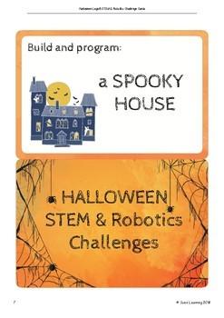 Halloween Lego® STEM & Robotics challenge cards with worksheets