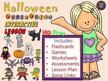 Halloween Lesson - NO PREP Power Point Interactive Flashcards, Games + More!