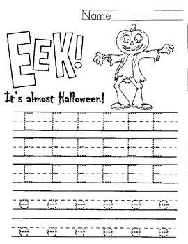 "Halloween Letter E Handwriting Worksheet ""EEK!"""