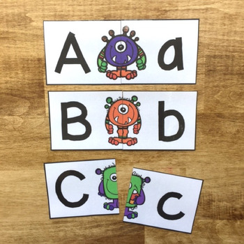 Monster Letter Matching Cards - Set of 26