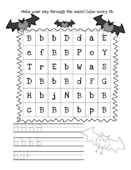 Halloween Letter Mazes and Handwriting Practice