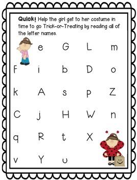 Halloween Letter Naming Fluency BUNDLE