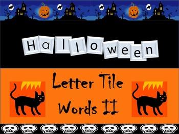 Preprinted No Prep Halloween Letter Tile Word Building Task Cards