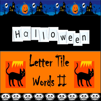 #backtoschool Halloween Letter Tile Word Building Task Cards