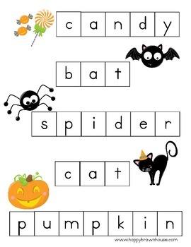 Halloween Letter Tiles Spelling Mat