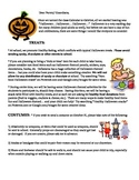 Halloween Letter to Parents (with French vocabulary, Healthy eating, etc.)