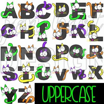 Alphabet Letters Clip Art - Halloween Cats Letters {jen hart Clip Art}