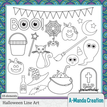 Halloween Line Art and Digital Stamps