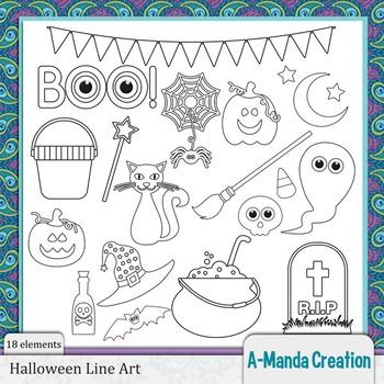 Halloween Line Art and Digital Stamps