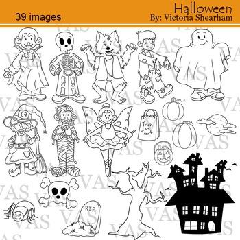 Halloween Line Clip Art clipart