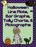 Halloween Line Graphs, Bar Graphs, Tally Charts, & Pictographs