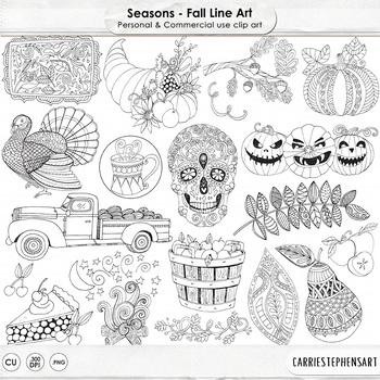 Halloween Line Art, Fall Digital Images, Autumn Clip Art, Harvest Black Line