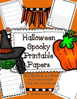 Halloween Lined Printable Writing Paper Stationary {in 1 in and 1/2 in versions}