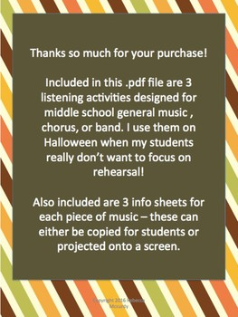Halloween Listening Activities for Middle School General Music, Band, or Chorus