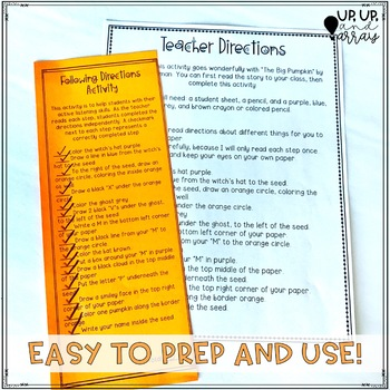Halloween Listening and Following Directions Activity