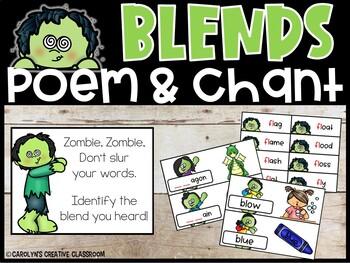 Halloween Literacy Center - Blends Center (L, R, S Blends)