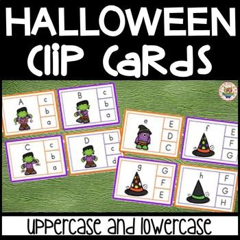 Halloween Literacy Center Clip Cards - 2 Sets - NO PREP -