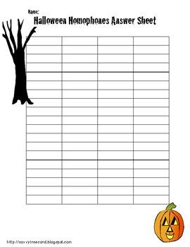Halloween Literacy Center: Homophones