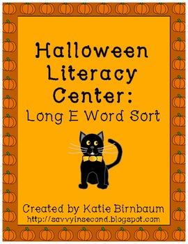 Halloween Literacy Center: Long E Word Sort