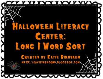 Halloween Literacy Center: Long I Word Sort