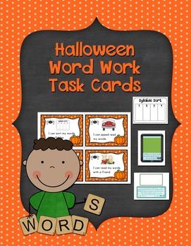 Halloween Literacy Center Word Work Task Cards