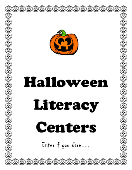 Halloween Literacy Centers Black and White