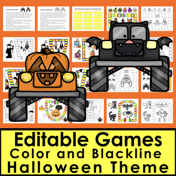 Halloween Sight Words Games EDITABLE - 8 Game Boards Set 1