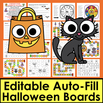 Halloween Sight Words Games: Editable Auto Fill by Typing Once! Set 2