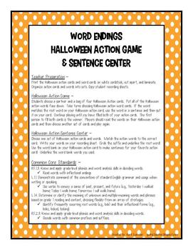 Halloween Literacy Games and Centers for 1st Grade