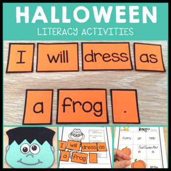 Halloween Literacy Activity Pack - sentence writing sequencing craft and bingo!