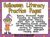 Halloween Literacy Practice Pages Kindergarten- beginning sounds and more