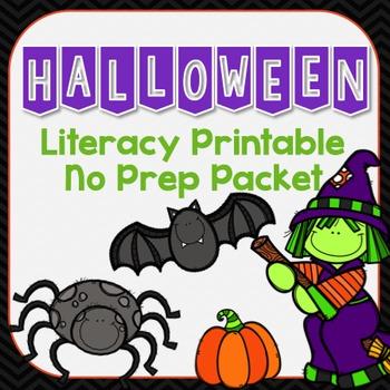 Halloween Literacy Printable No Prep Packet
