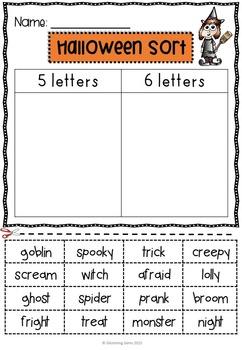 First Grade Halloween Activities