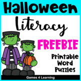 Halloween Activities Free: Halloween Literacy Puzzles with Halloween Word Search